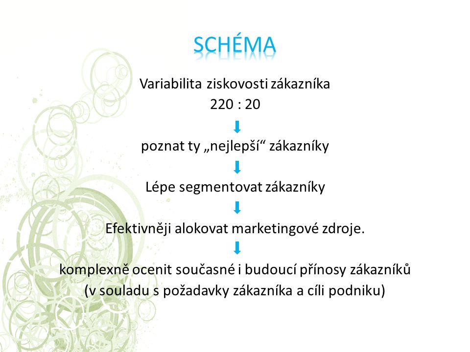"""Variabilita ziskovosti zákazníka 220 : 20 poznat ty """"nejlepší"""" zákazníky Lépe segmentovat zákazníky Efektivněji alokovat marketingové zdroje. komplexn"""