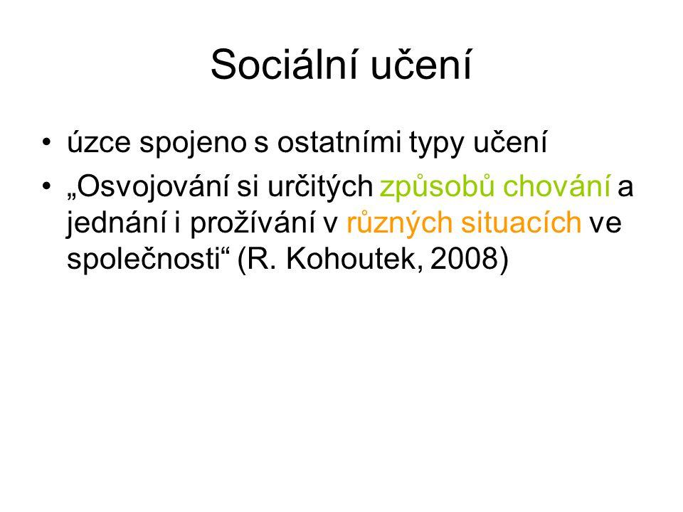 """Sociální učení úzce spojeno s ostatními typy učení """"Osvojování si určitých způsobů chování a jednání i prožívání v různých situacích ve společnosti (R."""