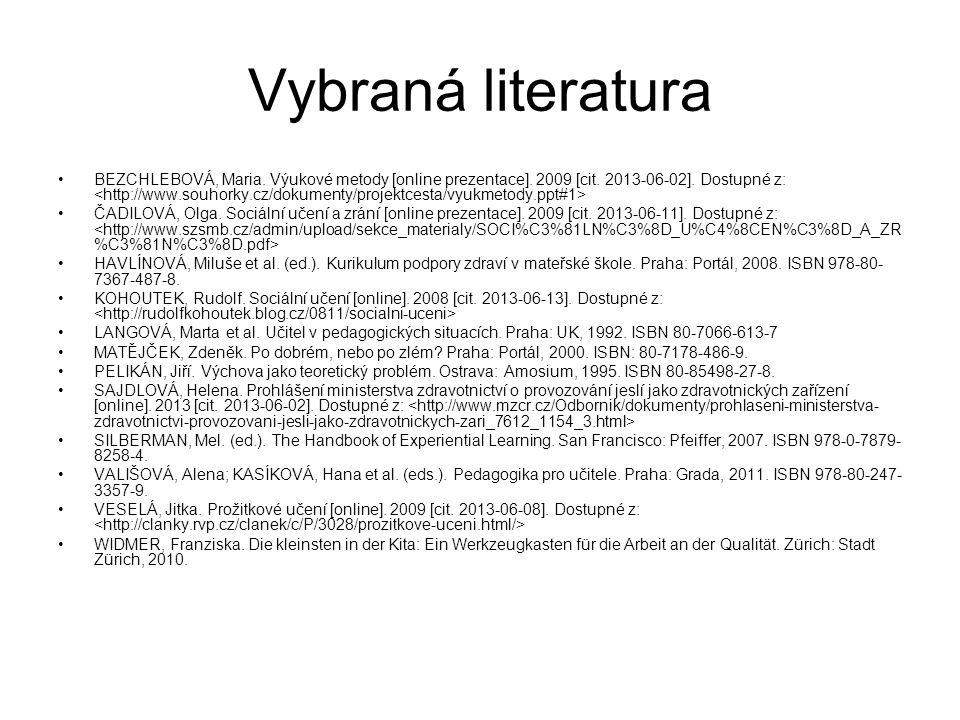 Vybraná literatura BEZCHLEBOVÁ, Maria. Výukové metody [online prezentace].