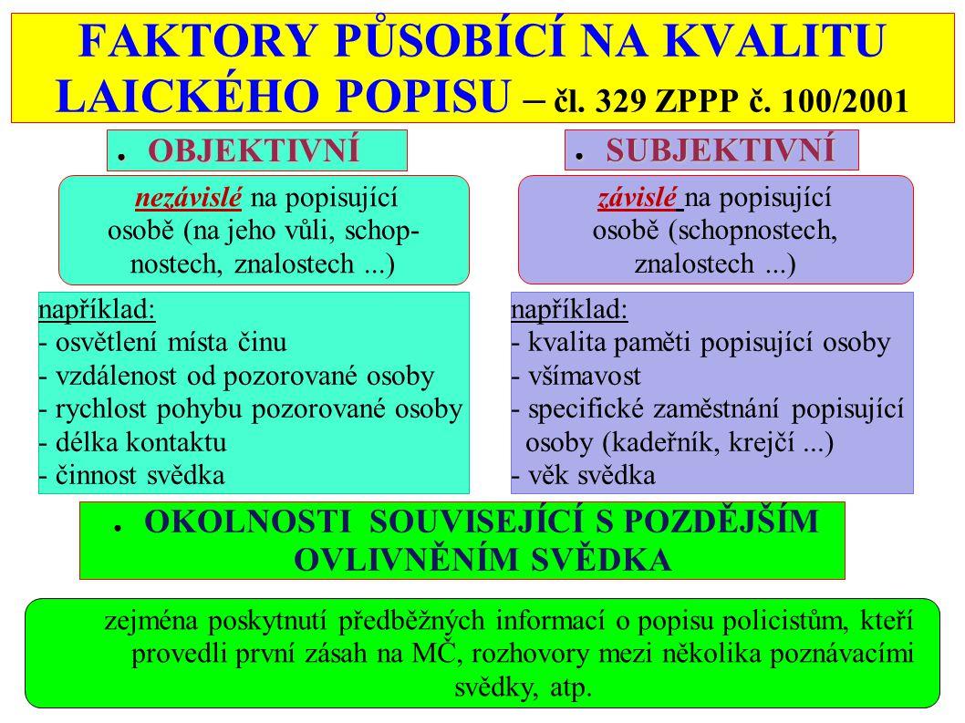 Postup při získávání popisu osoby podle výpovědi poznávajícího svědka - čl.