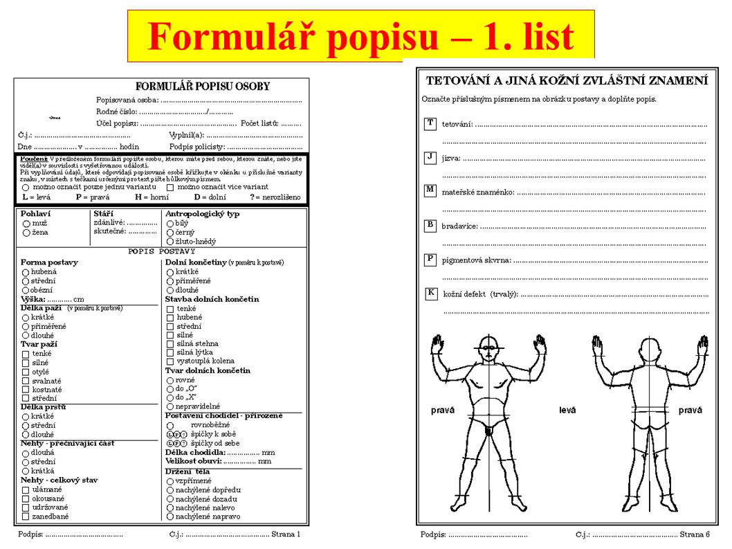 Formulář popisu – 1. list