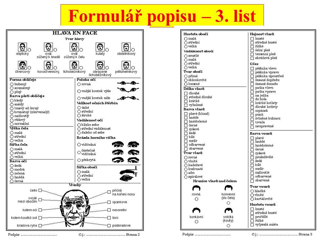 Formulář popisu – 4. list