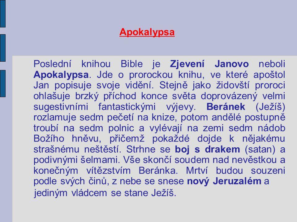 Apokalypsa Poslední knihou Bible je Zjevení Janovo neboli Apokalypsa. Jde o prorockou knihu, ve které apoštol Jan popisuje svoje vidění. Stejně jako ž