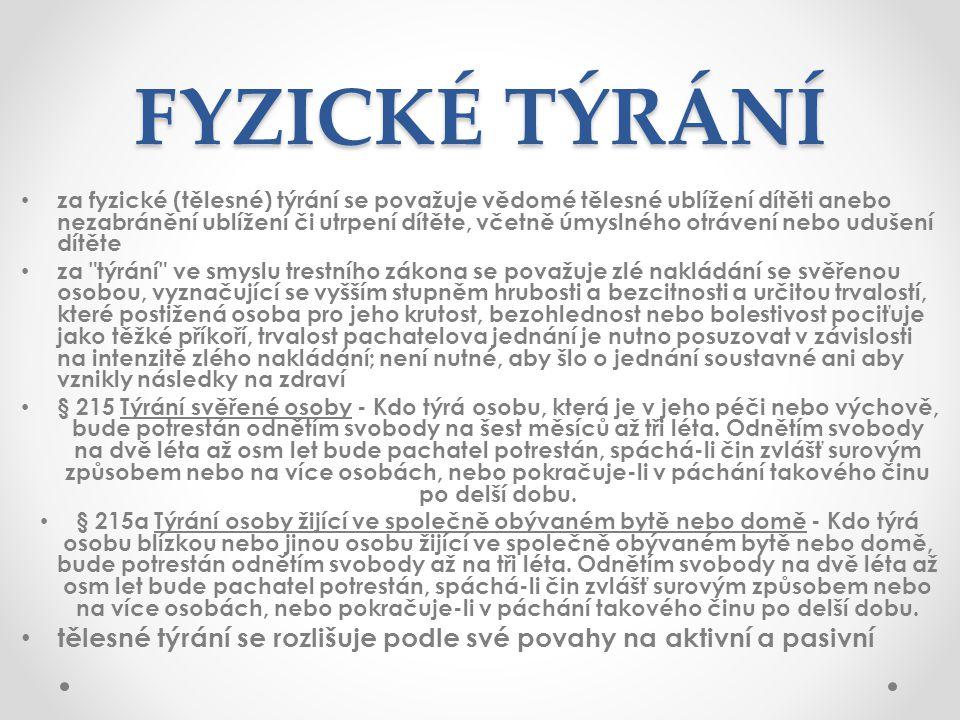 ZDROJE http://www.nicm.cz/fyzicke-tyrani-zneuzivani-a-zanedbabani-charkteristika http://www.fod.cz/tyrani.htm http://www.nicm.cz/formy-a-nasledky-psychickeho-tyrani-zneuzivani-a- zanedbavani http://www.nicm.cz/formy-a-nasledky-psychickeho-tyrani-zneuzivani-a- zanedbavani http://www.sancedetem.cz/srv/www/content/pub/cs/clanky/myty-a-fakta-o- sexualnim-zneuzivani-deti-63.html http://www.sancedetem.cz/srv/www/content/pub/cs/clanky/myty-a-fakta-o- sexualnim-zneuzivani-deti-63.html http://deenamedia.blogspot.cz/2012/04/fenomen-tyrani- deti.html#!/2012/04/fenomen-tyrani-deti.html http://deenamedia.blogspot.cz/2012/04/fenomen-tyrani- deti.html#!/2012/04/fenomen-tyrani-deti.html http://www.lidovky.cz/desive-tyrani-chlapce-v-brne-rodice-ho-pichali-napinacky- a-trapili-jej-hladem-17a-/zpravy-domov.aspx?c=A110125_125554_ln_domov_kar http://www.lidovky.cz/desive-tyrani-chlapce-v-brne-rodice-ho-pichali-napinacky- a-trapili-jej-hladem-17a-/zpravy-domov.aspx?c=A110125_125554_ln_domov_kar http://www.tyden.cz/rubriky/zahranici/evropa/jak-zabranit-tyrani-deti-lamou-si- hlavu-polaci_66689.html http://www.tyden.cz/rubriky/zahranici/evropa/jak-zabranit-tyrani-deti-lamou-si- hlavu-polaci_66689.html http://zena-in.cz/clanek/proc-o-zneuzivani-deti-mlcime http://www.sancedetem.cz/srv/www/content/pub/cs/clanky/zanedbavane-deti- nejmene-viditelne-s-vaznymi-nasledky-8.html http://www.sancedetem.cz/srv/www/content/pub/cs/clanky/zanedbavane-deti- nejmene-viditelne-s-vaznymi-nasledky-8.html http://www.itydenik.cz/obsah/nevlastni-otec-tyral-deti-chlapec-si-mel-holyma- rukama-kopat-vlastni-hrob http://www.itydenik.cz/obsah/nevlastni-otec-tyral-deti-chlapec-si-mel-holyma- rukama-kopat-vlastni-hrob http://prozeny.blesk.cz/clanek/pro-zeny-rodina-deti/166893/hrozi-vasemu-diteti- sexualni-zneuziti-poznejte-to-vcas.html http://prozeny.blesk.cz/clanek/pro-zeny-rodina-deti/166893/hrozi-vasemu-diteti- sexualni-zneuziti-poznejte-to-vcas.html http://www.lidovky.cz/zneuzivani-deti-tabu-ktere-ma-zmizet-dse-/zpr