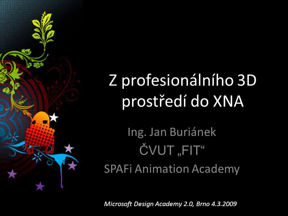 Z profesionálního 3D prostředí do XNA Ing.