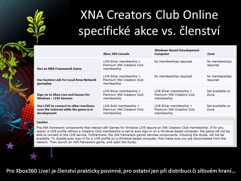 XNA Creators Club Online specifické akce vs. členství Pro Xbox360 Live.