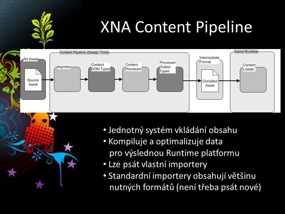 XNA Content Pipeline Jednotný systém vkládání obsahu Kompiluje a optimalizuje data pro výslednou Runtime platformu Lze psát vlastní importery Standardní importery obsahují většinu nutných formátů (není třeba psát nové)