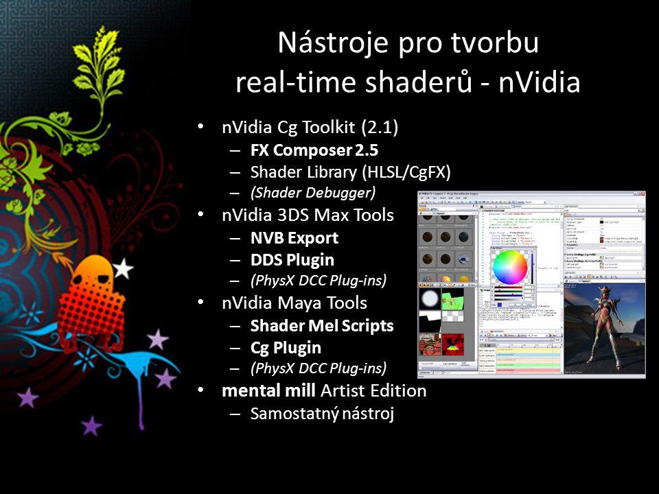 Nástroje pro tvorbu real-time shaderů - nVidia nVidia Cg Toolkit (2.1) – FX Composer 2.5 – Shader Library (HLSL/CgFX) – (Shader Debugger) nVidia 3DS Max Tools – NVB Export – DDS Plugin – (PhysX DCC Plug-ins) nVidia Maya Tools – Shader Mel Scripts – Cg Plugin – (PhysX DCC Plug-ins) mental mill Artist Edition – Samostatný nástroj