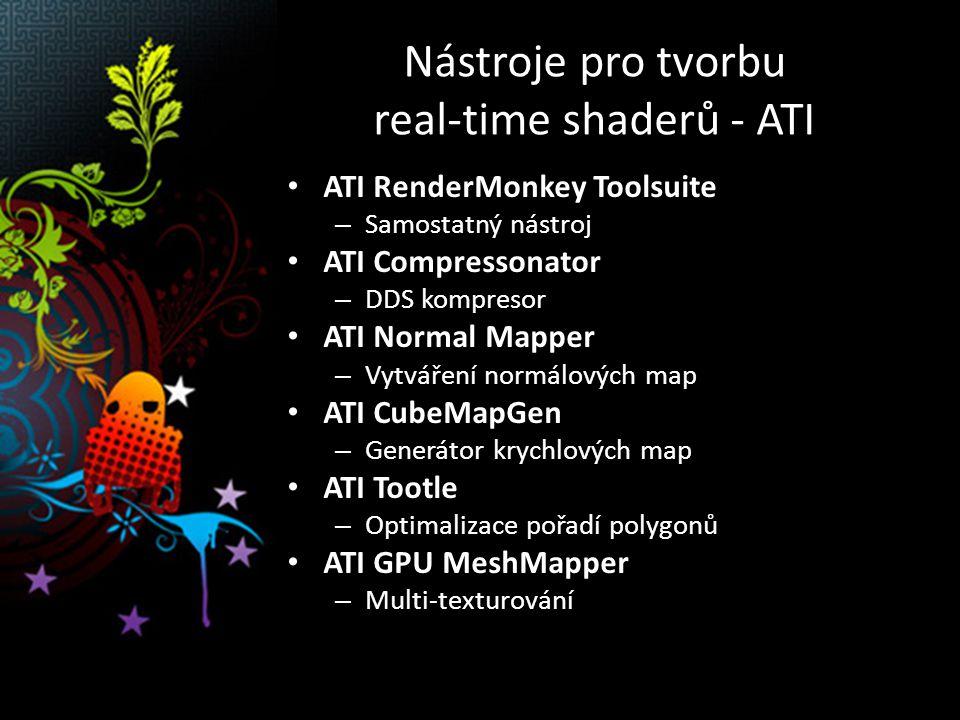 Nástroje pro tvorbu real-time shaderů - ATI ATI RenderMonkey Toolsuite – Samostatný nástroj ATI Compressonator – DDS kompresor ATI Normal Mapper – Vytváření normálových map ATI CubeMapGen – Generátor krychlových map ATI Tootle – Optimalizace pořadí polygonů ATI GPU MeshMapper – Multi-texturování