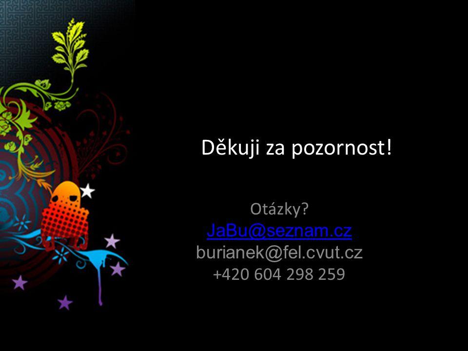 Děkuji za pozornost! Otázky JaBu@seznam.cz burianek@fel.cvut.cz +420 604 298 259