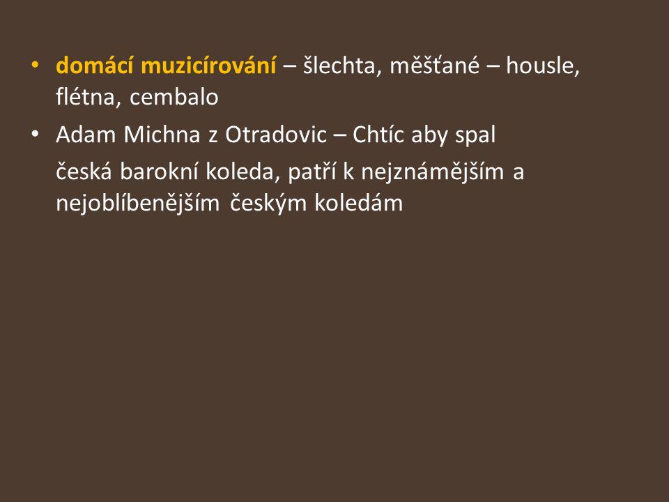 domácí muzicírování – šlechta, měšťané – housle, flétna, cembalo Adam Michna z Otradovic – Chtíc aby spal česká barokní koleda, patří k nejznámějším a nejoblíbenějším českým koledám