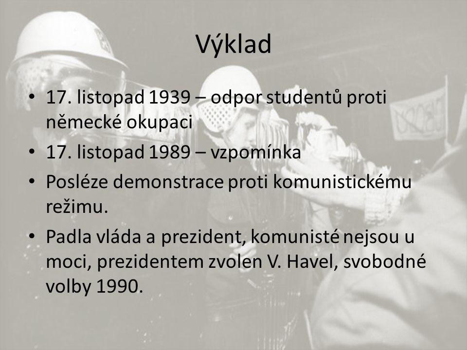 Výklad 17. listopad 1939 – odpor studentů proti německé okupaci 17.