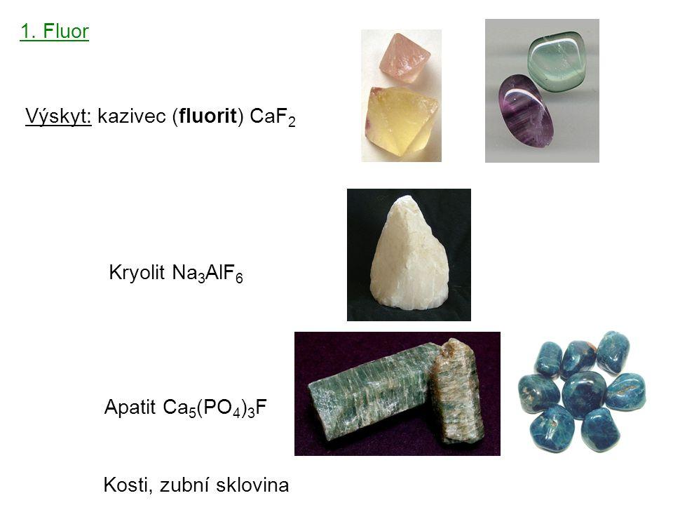 4 1. Fluor Výskyt: kazivec (fluorit) CaF 2 Kryolit Na 3 AlF 6 Apatit Ca 5 (PO 4 ) 3 F Kosti, zubní sklovina