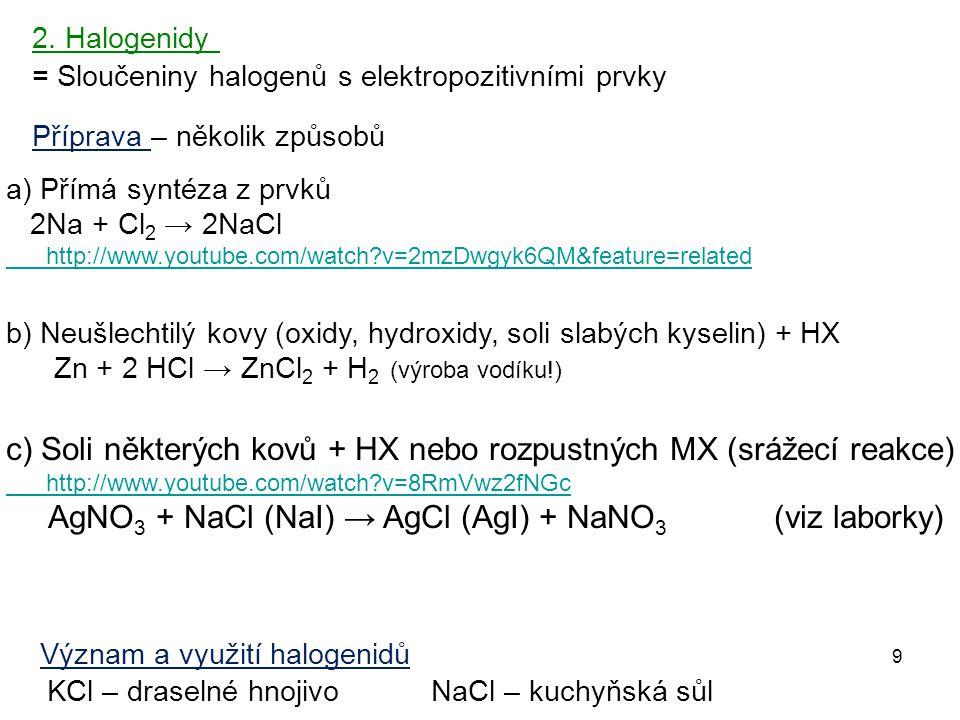 9 = Sloučeniny halogenů s elektropozitivními prvky 2. Halogenidy Příprava – několik způsobů Význam a využití halogenidů KCl – draselné hnojivo NaCl –