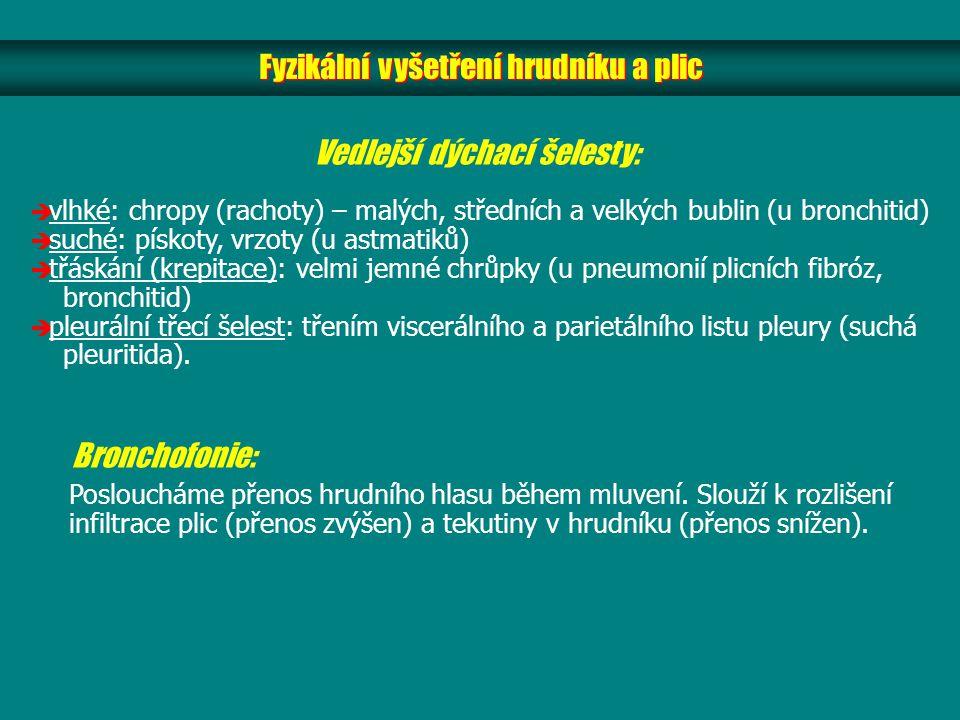 Fyzikální vyšetření hrudníku a plic Bronchofonie: Posloucháme přenos hrudního hlasu během mluvení. Slouží k rozlišení infiltrace plic (přenos zvýšen)