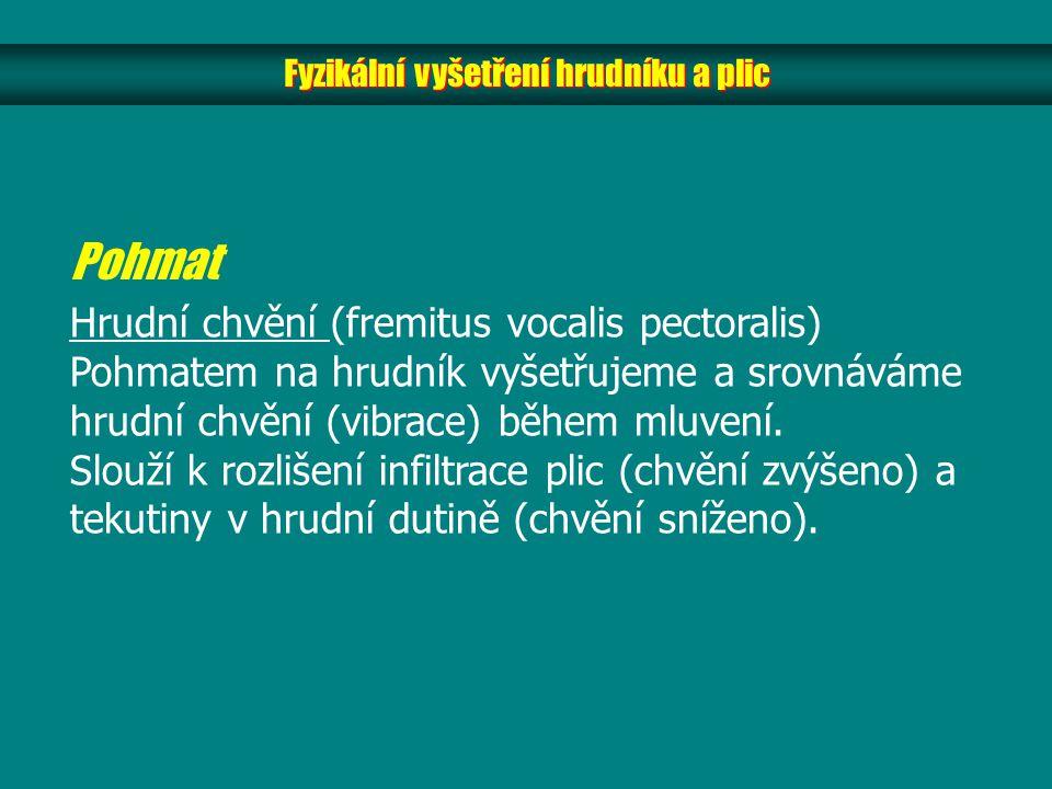 Fyzikální vyšetření hrudníku a plic Pohmat Hrudní chvění (fremitus vocalis pectoralis) Pohmatem na hrudník vyšetřujeme a srovnáváme hrudní chvění (vibrace) během mluvení.