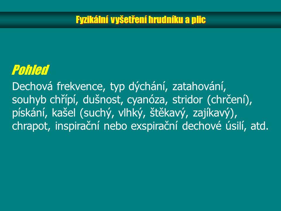 Fyzikální vyšetření hrudníku a plic Pohled Dechová frekvence, typ dýchání, zatahování, souhyb chřípí, dušnost, cyanóza, stridor (chrčení), pískání, kašel (suchý, vlhký, štěkavý, zajíkavý), chrapot, inspirační nebo exspirační dechové úsilí, atd.