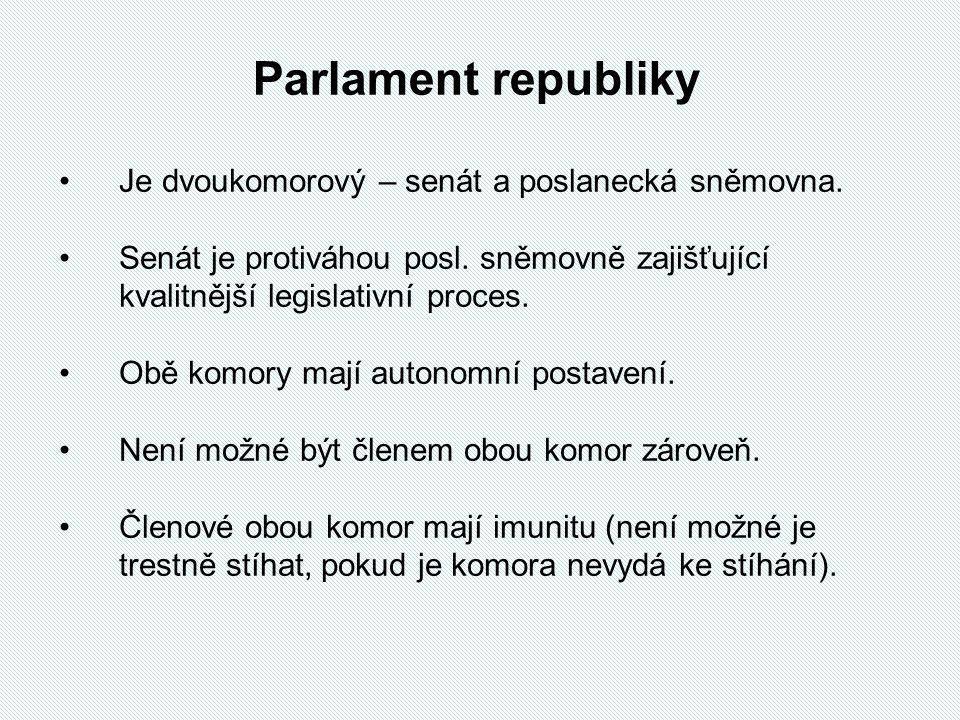 Parlament republiky Je dvoukomorový – senát a poslanecká sněmovna.