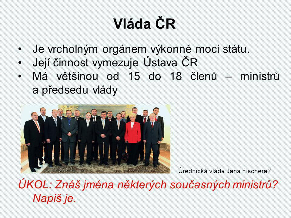 Vláda ČR Je vrcholným orgánem výkonné moci státu.