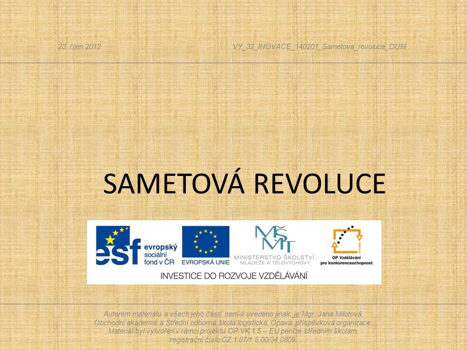  Sametová revoluce 1989 = jedenáct dní, které otřásly Československem.