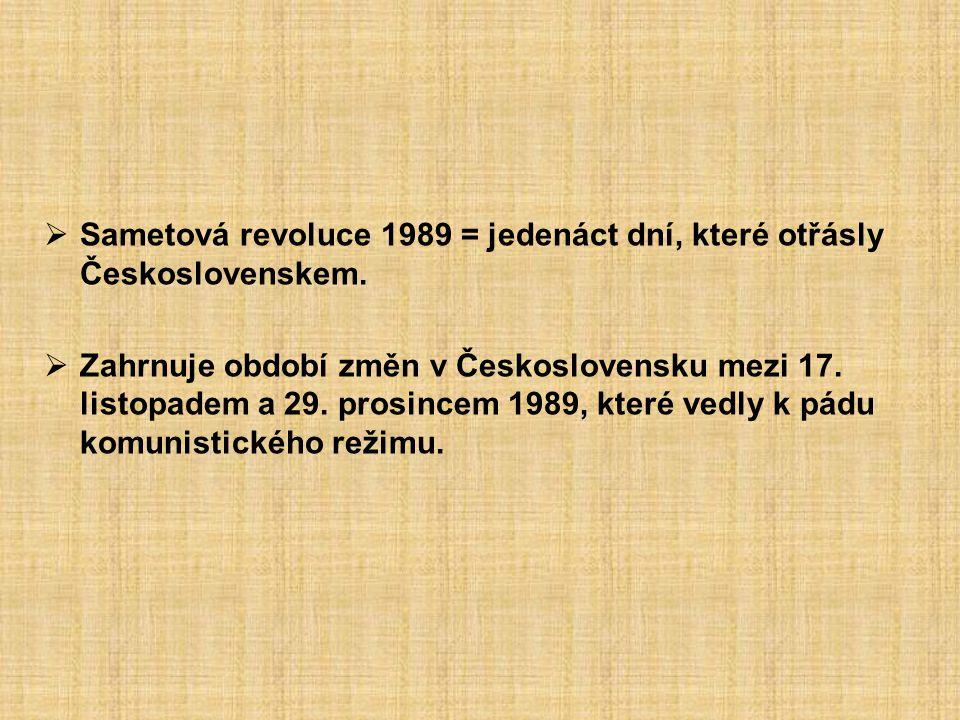  Sametová revoluce 1989 = jedenáct dní, které otřásly Československem.  Zahrnuje období změn v Československu mezi 17. listopadem a 29. prosincem 19