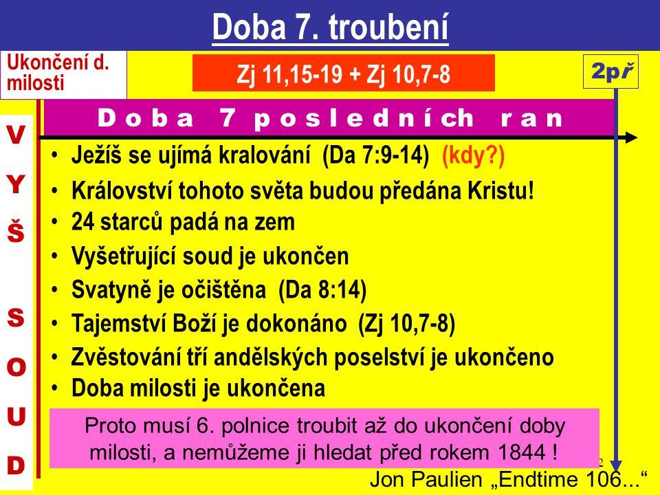 12 Ježíš se ujímá kralování (Da 7:9-14) (kdy?) Království tohoto světa budou předána Kristu! 24 starců padá na zem Vyšetřující soud je ukončen Svatyně