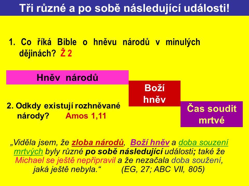 Hněv národů Boží hněv Čas soudit mrtvé Tři různé a po sobě následující události! 2. Odkdy existují rozhněvané národy? Amos 1,11 1. Co říká Bible o hně