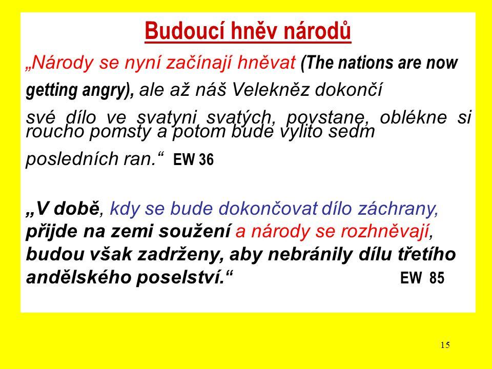 """15 Budoucí hněv národů """"Národy se nyní začínají hněvat (The nations are now getting angry), ale až náš Velekněz dokončí své dílo ve svatyni svatých, p"""