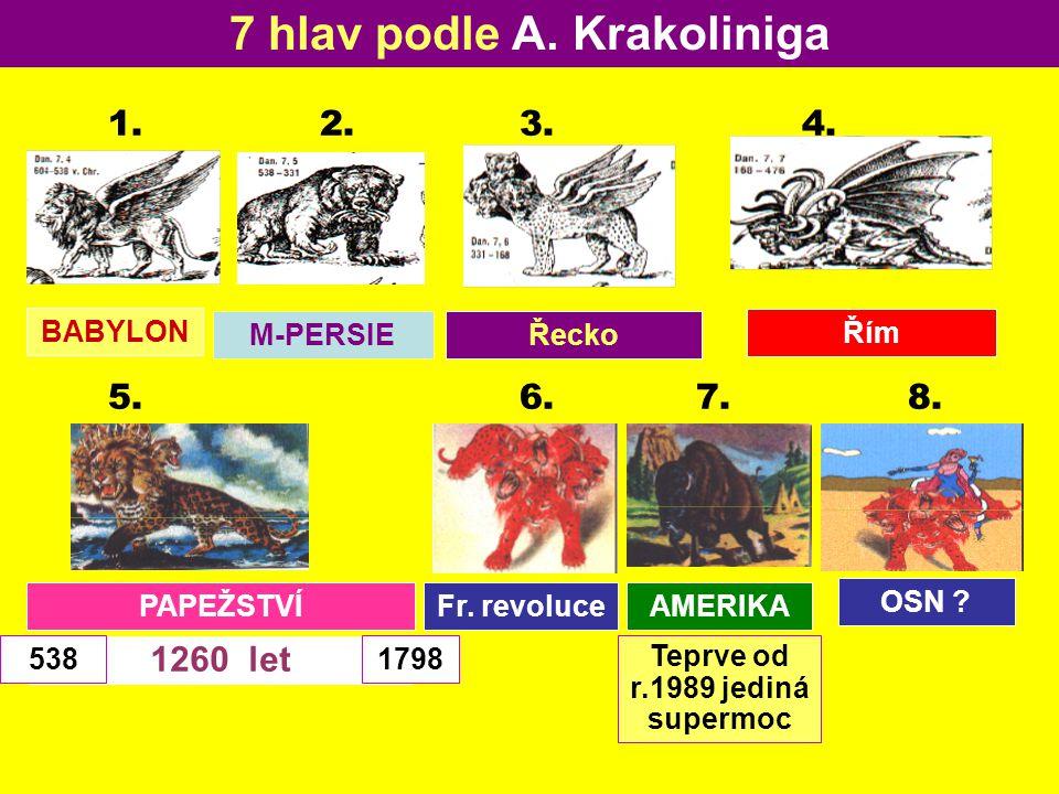 1260 let AMERIKA 7 hlav podle A. Krakoliniga 1. 2. 3. 4. BABYLON M-PERSIEŘecko Řím 5. 6. 7. 8. PAPEŽSTVÍFr. revoluce OSN ? 5381798 Teprve od r.1989 je