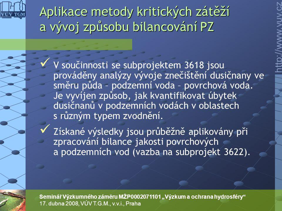 """http://www.vuv.cz Seminář Výzkumného záměru MŽP0002071101 """"Výzkum a ochrana hydrosféry"""" 17. dubna 2008, VÚV T.G.M., v.v.i., Praha V součinnosti se sub"""