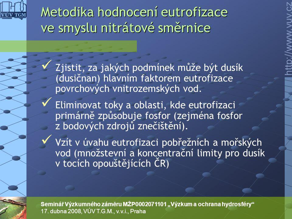 """http://www.vuv.cz Seminář Výzkumného záměru MŽP0002071101 """"Výzkum a ochrana hydrosféry"""" 17. dubna 2008, VÚV T.G.M., v.v.i., Praha Zjistit, za jakých p"""