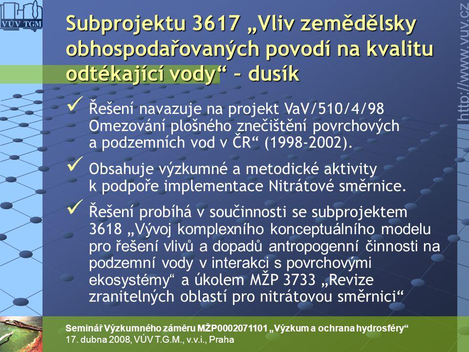 """http://www.vuv.cz Seminář Výzkumného záměru MŽP0002071101 """"Výzkum a ochrana hydrosféry"""" 17. dubna 2008, VÚV T.G.M., v.v.i., Praha Řešení navazuje na p"""