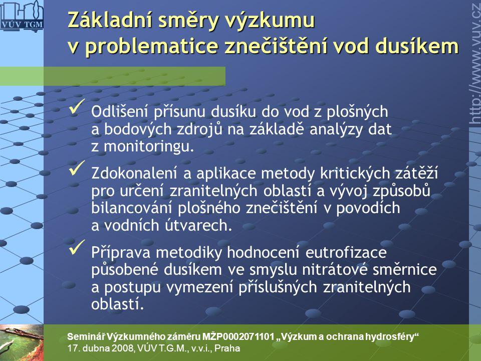 """http://www.vuv.cz Seminář Výzkumného záměru MŽP0002071101 """"Výzkum a ochrana hydrosféry"""" 17. dubna 2008, VÚV T.G.M., v.v.i., Praha Odlišení přísunu dus"""