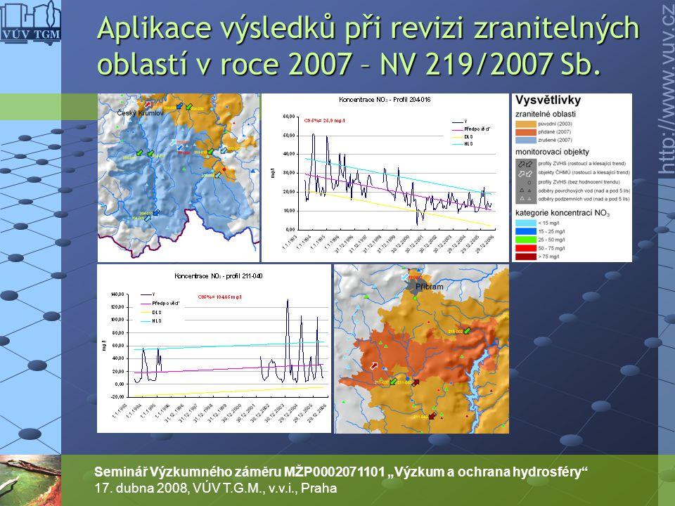 """http://www.vuv.cz Seminář Výzkumného záměru MŽP0002071101 """"Výzkum a ochrana hydrosféry"""" 17. dubna 2008, VÚV T.G.M., v.v.i., Praha Aplikace výsledků př"""