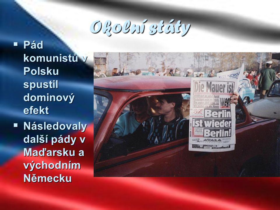Okolní státy  Pád komunistů v Polsku spustil dominový efekt  Následovaly další pády v Maďarsku a východním Německu