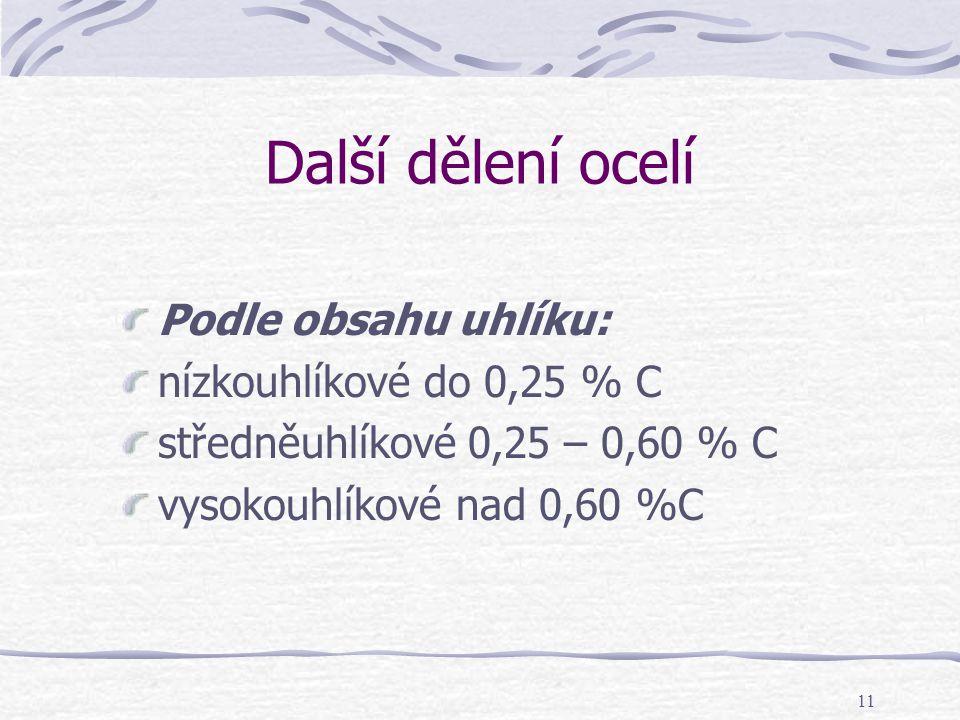 11 Další dělení ocelí Podle obsahu uhlíku: nízkouhlíkové do 0,25 % C středněuhlíkové 0,25 – 0,60 % C vysokouhlíkové nad 0,60 %C