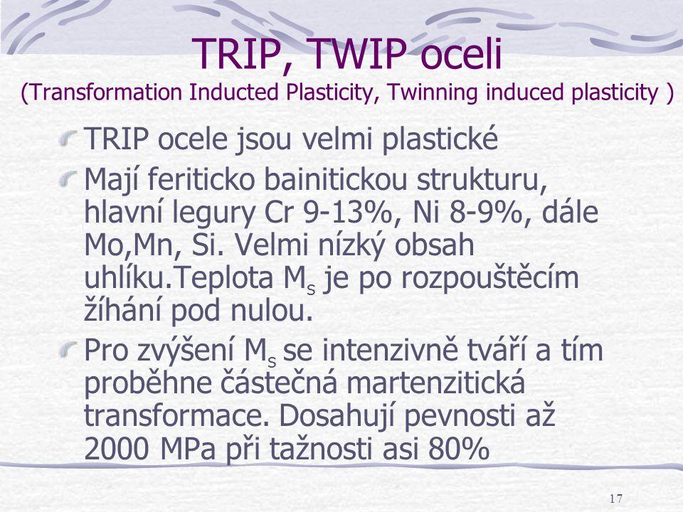 17 TRIP, TWIP oceli (Transformation Inducted Plasticity, Twinning induced plasticity ) TRIP ocele jsou velmi plastické Mají feriticko bainitickou stru