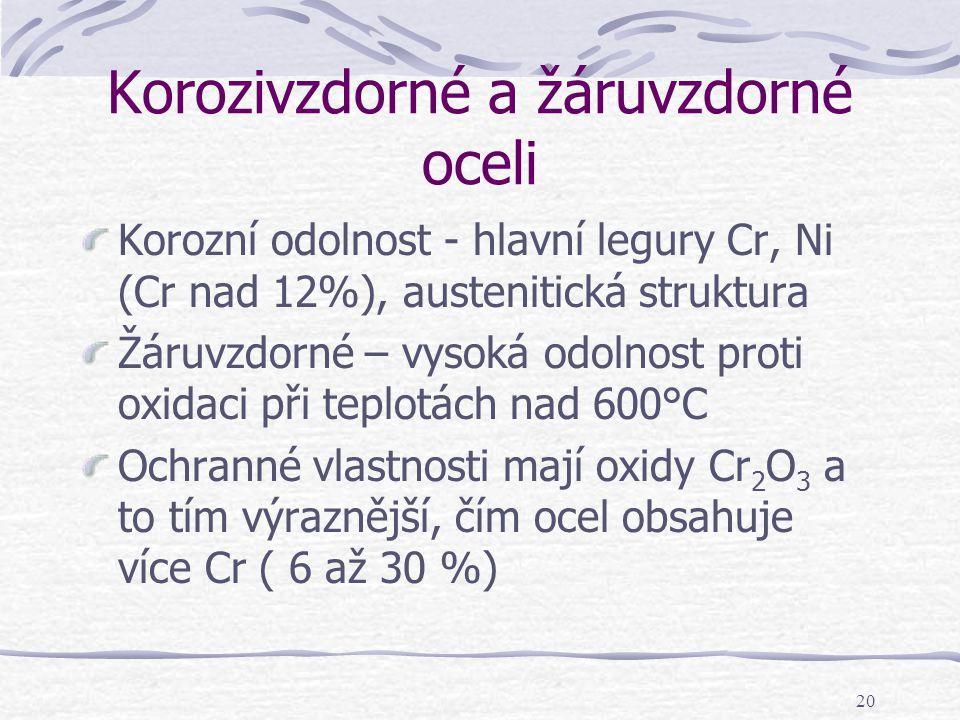 20 Korozivzdorné a žáruvzdorné oceli Korozní odolnost - hlavní legury Cr, Ni (Cr nad 12%), austenitická struktura Žáruvzdorné – vysoká odolnost proti