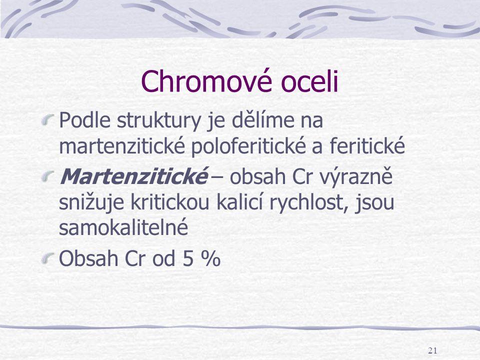 21 Chromové oceli Podle struktury je dělíme na martenzitické poloferitické a feritické Martenzitické – obsah Cr výrazně snižuje kritickou kalicí rychl