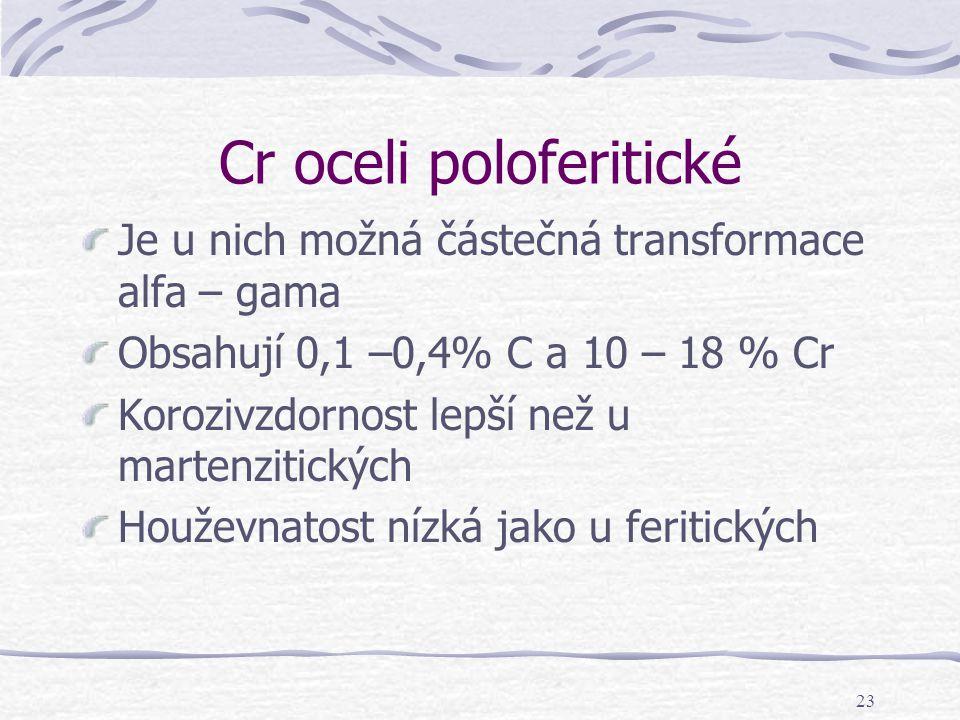 23 Cr oceli poloferitické Je u nich možná částečná transformace alfa – gama Obsahují 0,1 –0,4% C a 10 – 18 % Cr Korozivzdornost lepší než u martenziti