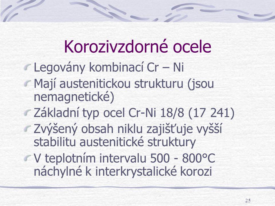 25 Korozivzdorné ocele Legovány kombinací Cr – Ni Mají austenitickou strukturu (jsou nemagnetické) Základní typ ocel Cr-Ni 18/8 (17 241) Zvýšený obsah