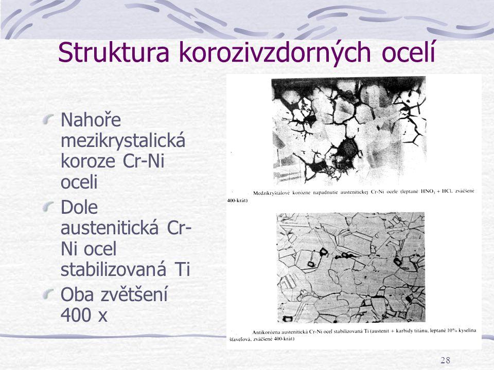 28 Struktura korozivzdorných ocelí Nahoře mezikrystalická koroze Cr-Ni oceli Dole austenitická Cr- Ni ocel stabilizovaná Ti Oba zvětšení 400 x