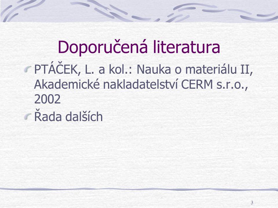3 Doporučená literatura PTÁČEK, L. a kol.: Nauka o materiálu II, Akademické nakladatelství CERM s.r.o., 2002 Řada dalších