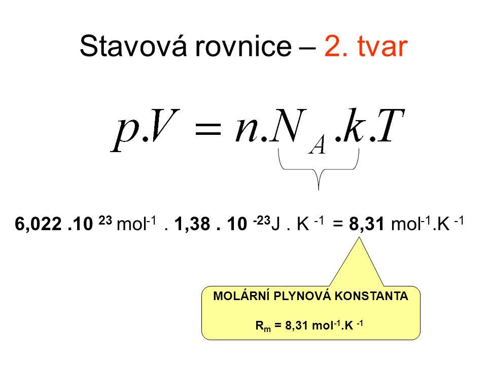 Stavová rovnice – 2. tvar 6,022.10 23 mol -1. 1,38.