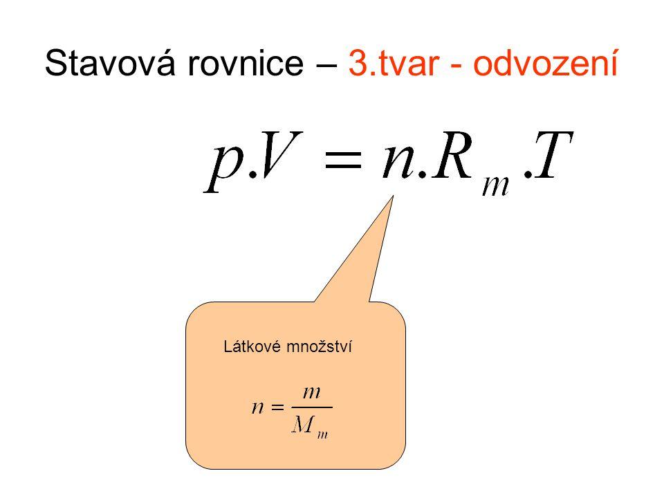 Stavová rovnice – 3.tvar - odvození Látkové množství