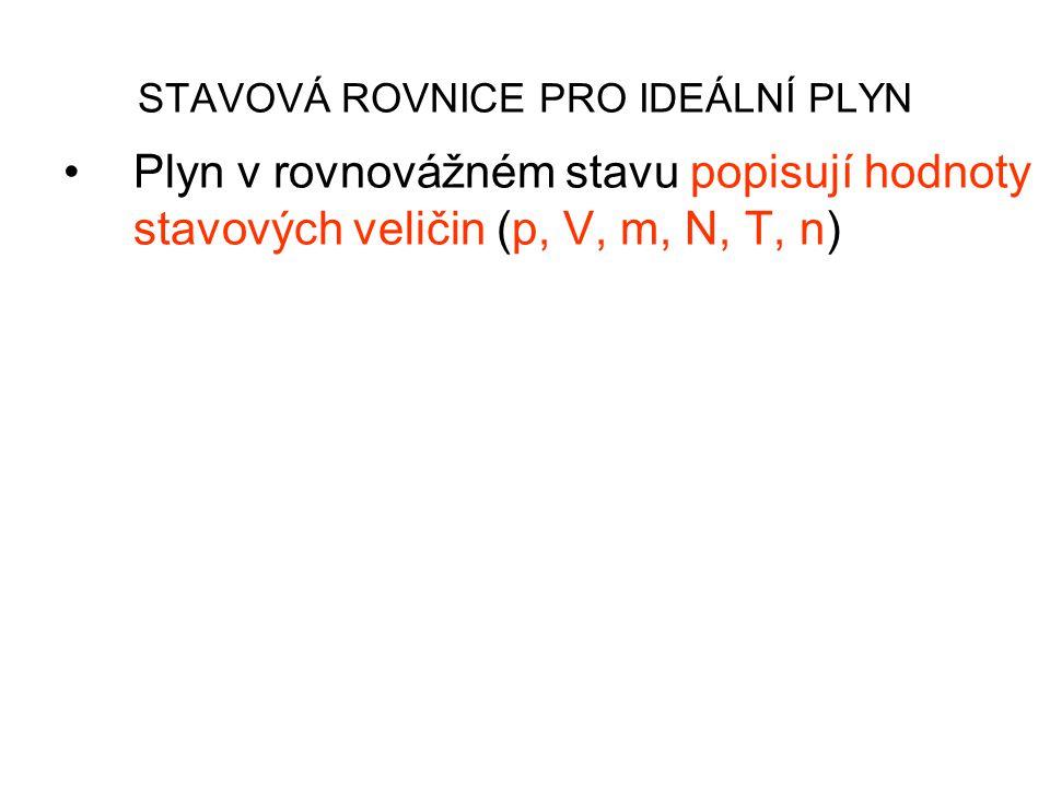 STAVOVÁ ROVNICE PRO IDEÁLNÍ PLYN Plyn v rovnovážném stavu popisují hodnoty stavových veličin (p, V, m, N, T, n) Rovnice, která vyjadřuje vztah mezi stavovými veličinami se nazývá STAVOVÁ ROVNICE IDEÁLNÍHO PLYNU