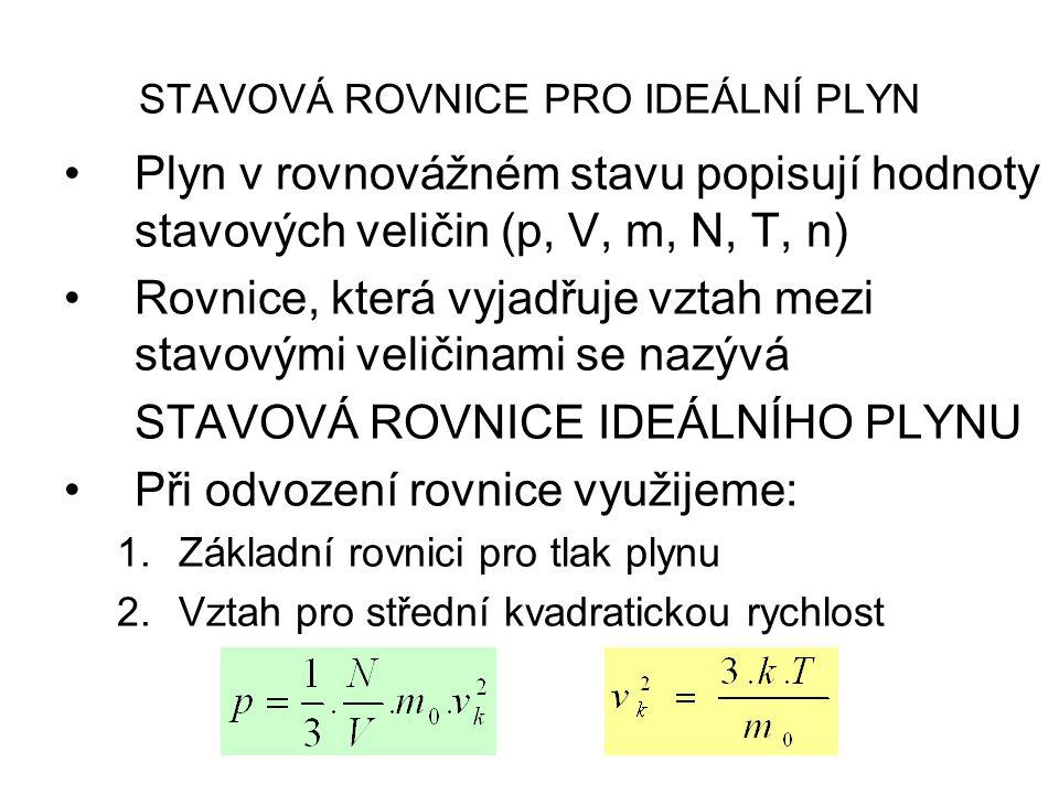 STAVOVÁ ROVNICE PRO IDEÁLNÍ PLYN Plyn v rovnovážném stavu popisují hodnoty stavových veličin (p, V, m, N, T, n) Rovnice, která vyjadřuje vztah mezi stavovými veličinami se nazývá STAVOVÁ ROVNICE IDEÁLNÍHO PLYNU Při odvození rovnice využijeme: 1.Základní rovnici pro tlak plynu 2.Vztah pro střední kvadratickou rychlost