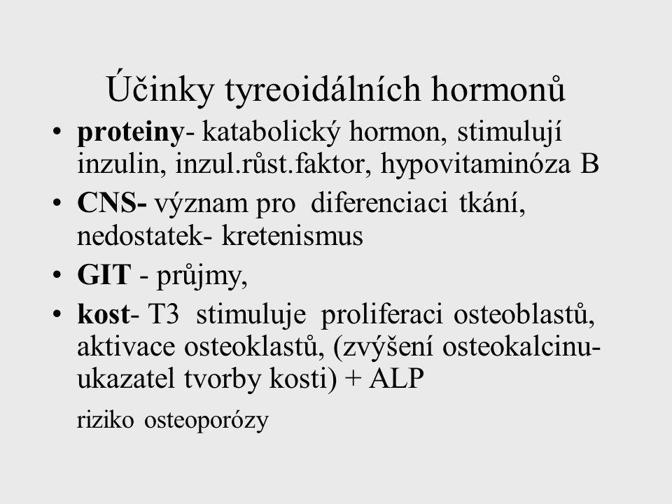 Účinky tyreoidálních hormonů proteiny- katabolický hormon, stimulují inzulin, inzul.růst.faktor, hypovitaminóza B CNS- význam pro diferenciaci tkání,