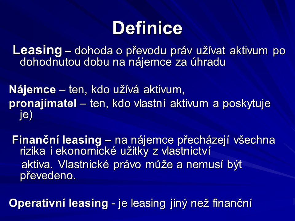 Definice (pokr.) Doba leasingu – je a) nevypověditelná doba, na kterou má a) nevypověditelná doba, na kterou má nájemce sjednán leasing plus nájemce sjednán leasing plus b) jiné lhůty, po které má nájemce opci na b) jiné lhůty, po které má nájemce opci na pokračování v leasingu aktiva (zdarma či pokračování v leasingu aktiva (zdarma či za úhradu), přičemž je na počátku za úhradu), přičemž je na počátku leasingu dostatečně jisté, že tuto opci leasingu dostatečně jisté, že tuto opci využije využije