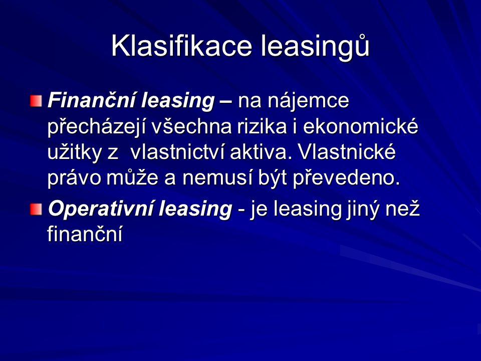 Indikátory leasingu Indikátory finančního leasingu: - vlastnictví aktiva je převedeno na nájemce do konce nájemní doby - nájemce má možnost po skončení leasingu aktivum odkoupit za cenu podstatně nižší než je reálná hodnota aktiva - doba trvání leasingu je podstatnou částí doby životnosti aktiva - po dobu leasingu nájemce uhradí reálnou hodnotu aktiva - nájemce nese ztráty pronajímatele spojené se zrušením leasingu leasingu - zisky nebo ztráty vlivem pohybu reálné zbytkové hodnoty připadají nájemci